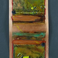 Patina, Paint, Steel on Copper 24x12in