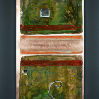 Patina, Paint, Steel on Copper 24x12 inches